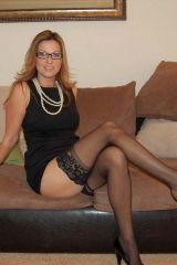 Milf with Glasses and Black Stockings
