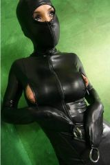 Wearing a black latex suit