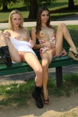 Two sexy chicks public upskirt