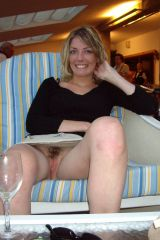 Nervous wife pantyless in public