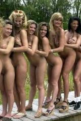 A chorus line on a stage in the forest--Naughty bi...