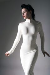 High necked white latex dress