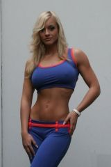 Blue yoga pants and sports bra