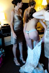 Bride getting dressed in a thong (xpost /r/realbri...
