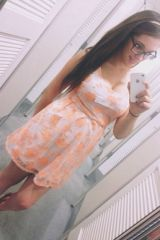 Floral dress with glasses