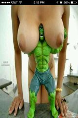 Hulk and boobs. Thought this was funny. Probably h...
