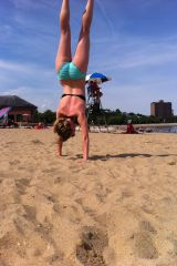 Doing a handstand