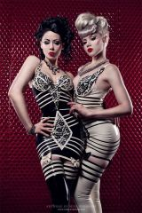 Ophelia Overdose and Miss Mosh, black and white la...