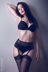 Curvy Kay in black lingerie