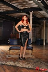 Lucy Collett dressed in leather