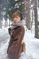 Beautiful redhead in the snow
