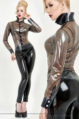 Zlata, blouse and black latex pants