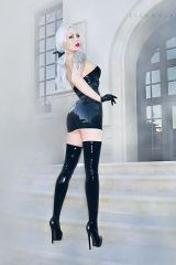Elena Vladi, latex dress and stockings