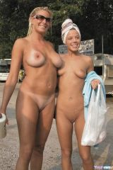 Mother and daughter nudists. Mom is hotter.