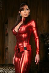 Christina Carter, red wetlook catsuit