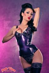 Jade Vixen in lacy purple Westward Bound latex