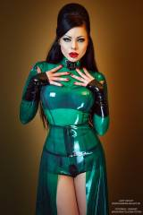 Lady Ashley, stunning transparent green latex dres...