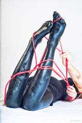 Legs in latex and red liquorice rope (self post)