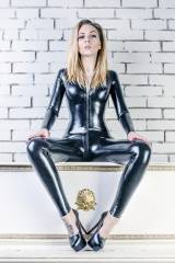Katerina Piglet, textured latex catsuit