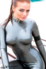 Valerie in a pewter Fantastic Rubber catsuit