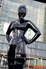 Mrs. Brooks, all covered in latex