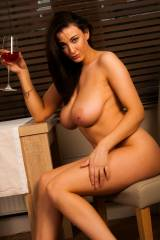 Joey Fisher having a glass of wine
