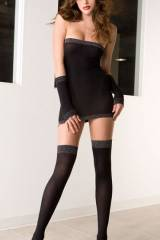 Very sexy lady, stockings and dress.