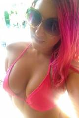 pink hair, pink bikini, great body