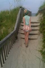 Mooning on her way to the beach