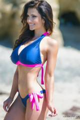 Denise Milani at the beach