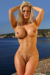 Curvy milf with huge fake tits (xpost/r/beachpussy...