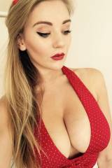 Beth Lily, red top and red lips