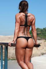 Sandra Prikker working out at the beach