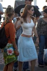 Jessica Biel - Tight white top and a blue sporty s...
