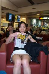 Asian girl panty less at the airport
