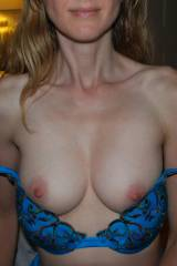Anonymous Mid-40s MILF, slipping out of her blue b...