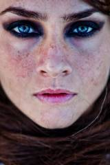 Beautiful blue eyes freckled redhead