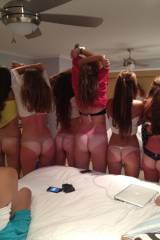 Six tan-lined mooning babes