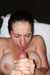 Getting a big load on her face.