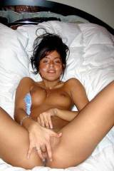 Fingering herself after a nice facial.
