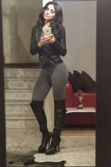 Bárbara de Regil - Gray and black high heel boots