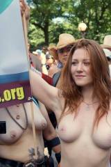 Women Bare Breasts For NYC Go Topless Day 2014