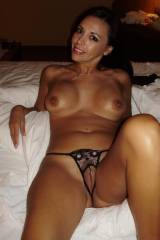 Pretty MILF Brunette - Crotchless Thong, too bad a...