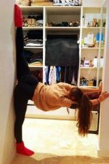 Stretching in the doorway