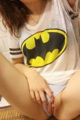 in the mood to show off her new batman tshirt