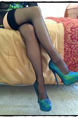 More of my silky thigh highs with my shimmering gr...
