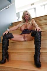 Busty blonde milf in boots