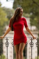 Curves in a red sweater dress