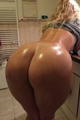 Leaning in the kitchen