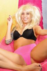 A Blonde Misty Gates Smiles in Pink Panties with h...